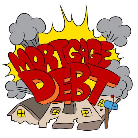 粉砕の住宅ローンの債務を表すイメージ。