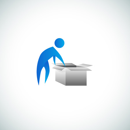 closing: An image of a man opening a cardboard box.