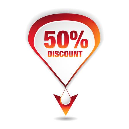 An image of a fifty percent discount icon. Ilustração