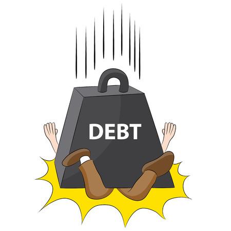 Obraz reprezentujący osobę zgnieciony w długach. Ilustracje wektorowe