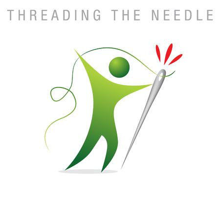 metafoor: Een afbeelding van een metafoor die het inrijgen van de naald. Stock Illustratie