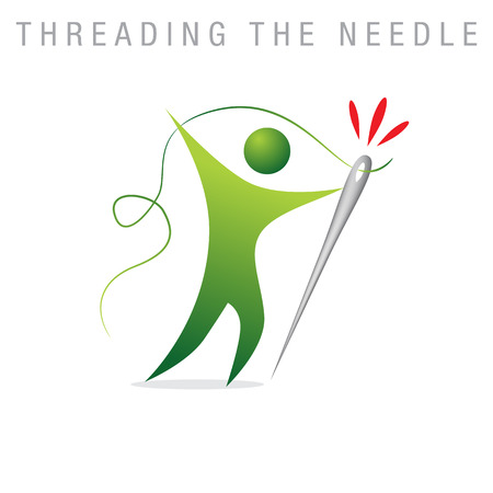 An image of a metaphor representing threading the needle.