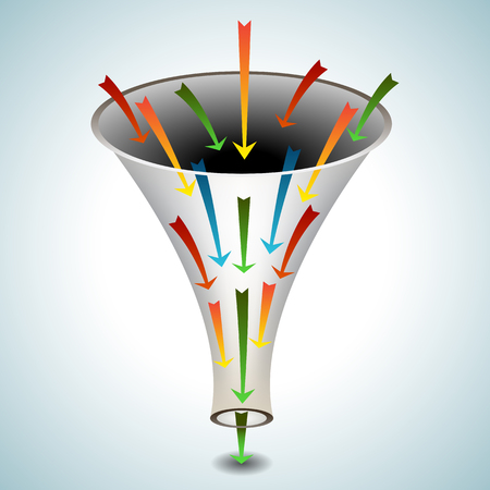 An image of a 3d funnel icon with merging arrows. Vector