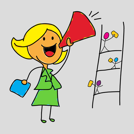 An image of a female business leader holding a megaphone.