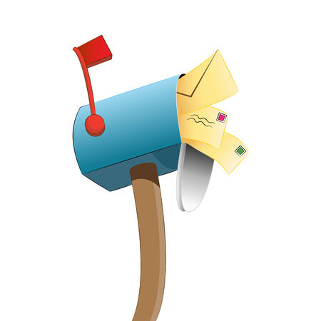 overflowing: An image of a mailbox that is full of letters. Illustration