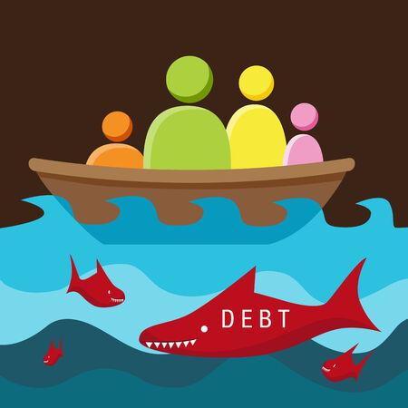 surrounded: L'immagine di una metafora che rappresenta circondato da debito pericoloso.