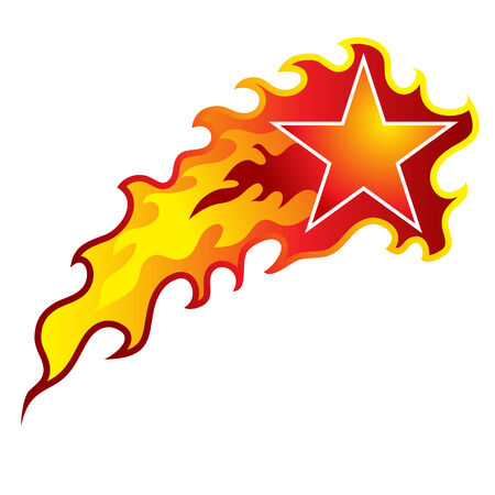 An image of a flaming shooting star. Illustration