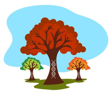 Dna 가닥과 가족 나무의 이미지.