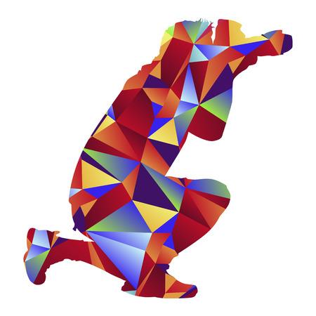 Una imagen de un hombre que toma una foto - estilo polígono.