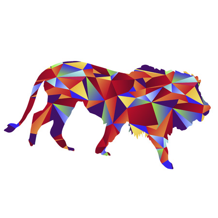 stalking: An image of a lion - polygon style. Illustration