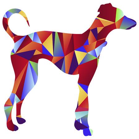 chart: Obraz greyhound pies - styl wielokąta.