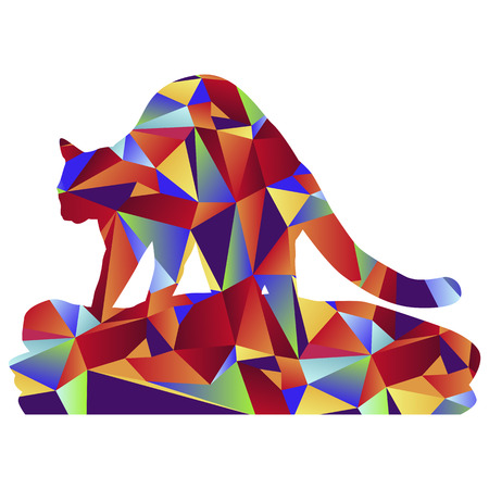 kneading: An image of a cat kneading a blanket - polygon style.
