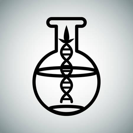Een afbeelding van een biotechnologisch onderzoek kolf. Stock Illustratie