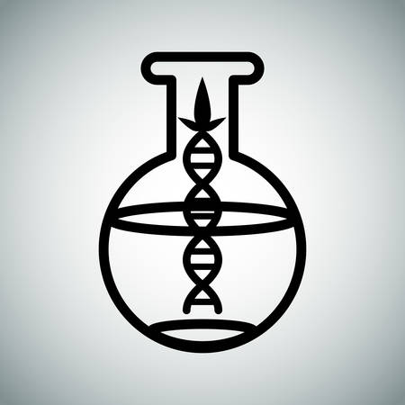 An image of a biotech research flask. Illustration