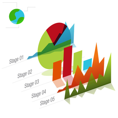 An image of a global graph chart. Illustration