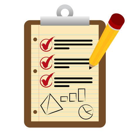 클립 보드와 재무 점검표와 연필의 이미지. 일러스트
