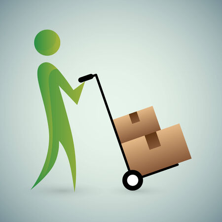 relocating: An image of an abstract person moving boxes.