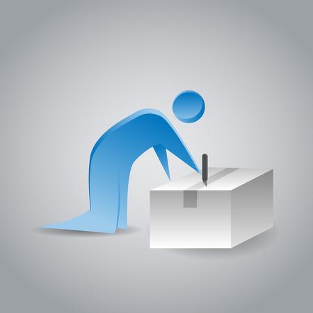 box cutter: Una imagen de una apertura de una caja con una hoja de afeitar persona abstracta.