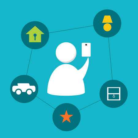 An image of an abstract person controlling items at home with a smartphone. Ilustrace