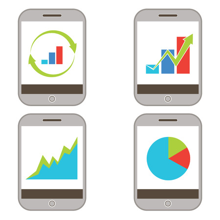 An image of a set of mobile finance charts.