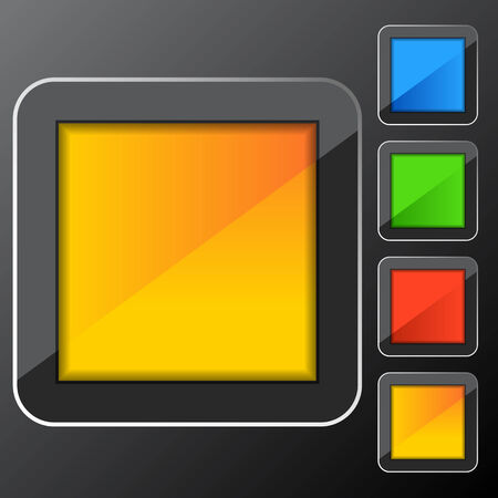 beveled corners: An image of a square frame web button set.