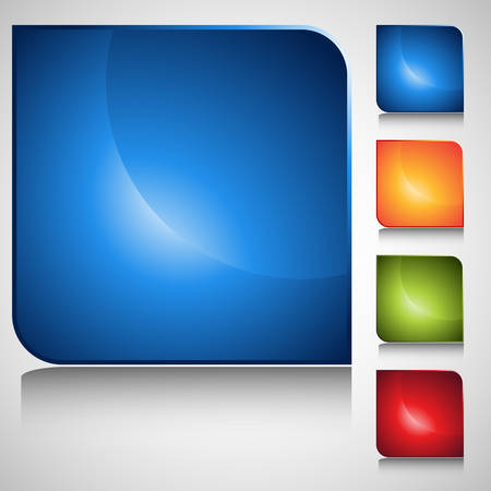 web icons: An image of a square web button set. Illustration