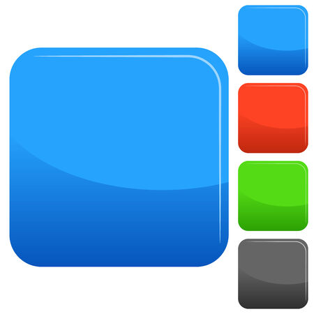 beveled corners: An image of a square web button set. Illustration