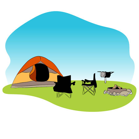 campground: An image of a camping background. Illustration