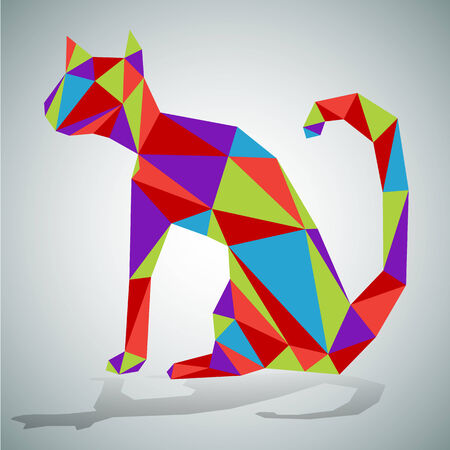 style: An image of a cat - polygon style.
