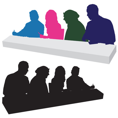 critique: An image of a panel of talent show judges - silhouette style.