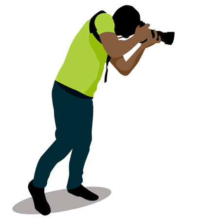 An image of a paparazzi taking a photo. Vector