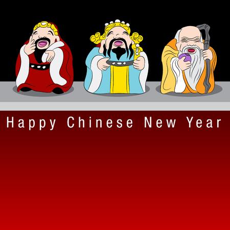 3 つの中国七福神のイメージ。  イラスト・ベクター素材