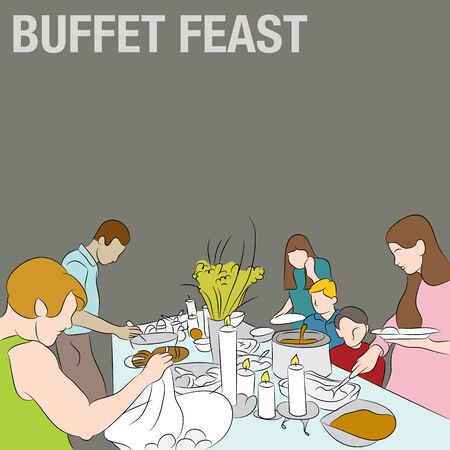 family holiday: An image of people serving their plates from a holiday buffet table. Illustration