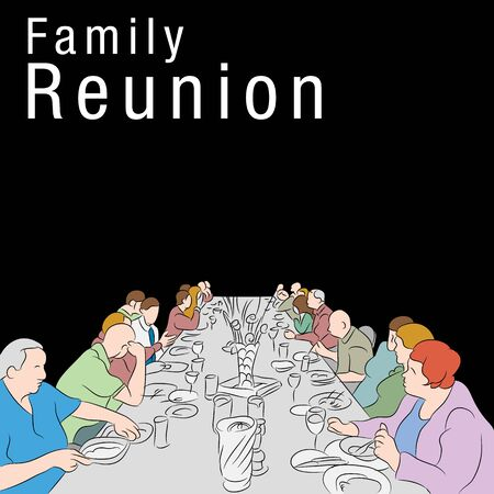 large group of items: An image of a group of people eating a meal around a large table. Illustration