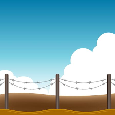 barbed wire fence: An image of a barbed wire fence background. Illustration
