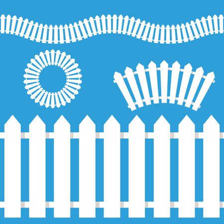 An image of a wooden white picket fence icon set. Illustration
