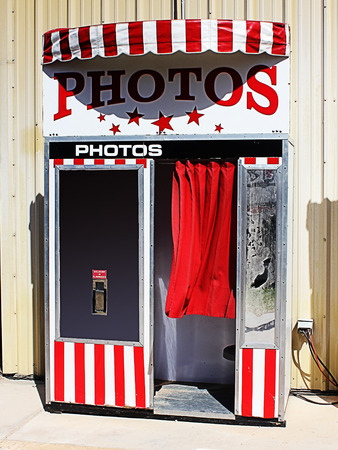 An image of a retro photo booth. Stock Photo