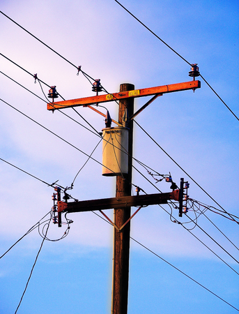 powerline: An image of a powerline pole. Stock Photo