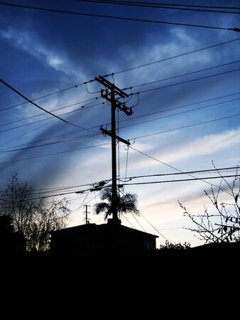 powerline: An image of a powerline silhouette. Stock Photo