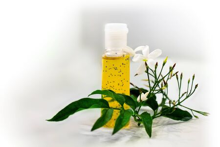 sanitizer: An image of a star jasmine flower scented hand sanitizer. Stock Photo