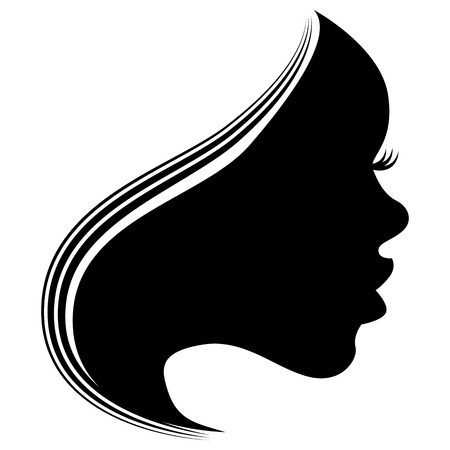 profile silhouette: An image of the profile face of a beautiful woman.