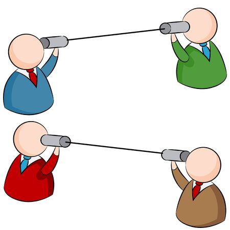 using voice: An image of two people communicating with the use of tin cans and string.