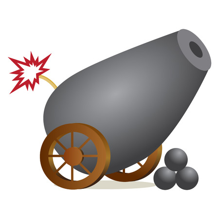 cannon ball: An image of a cannon with a lit fuse.