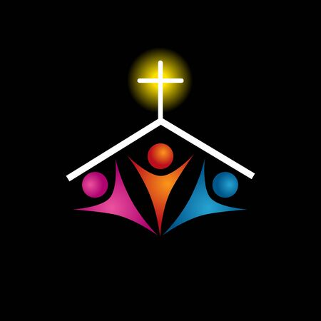 An image of a Christian family icon. Vector Illustration