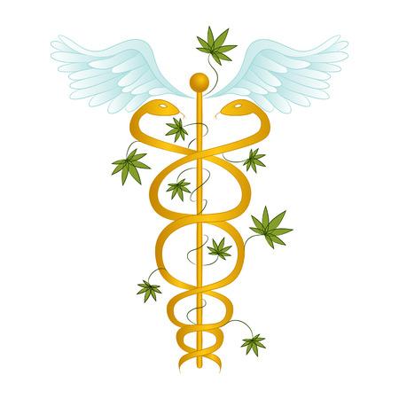 caduceo: Una imagen de un caduceo de la marihuana medicinal.
