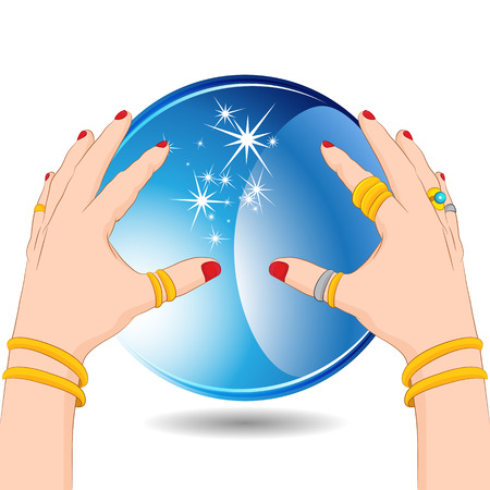 palm reading: An image of a fortune teller hands with a crystal ball. Illustration