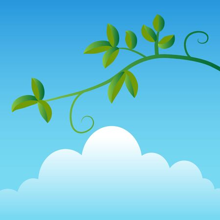 simple sky: An image of a simple tree branch with a sky and cloud background. Illustration