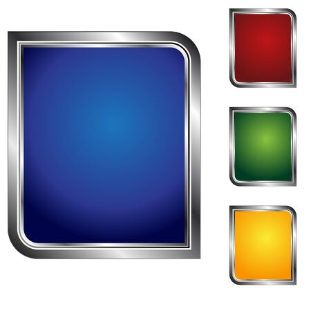 An image of a button icon set with metallic outline.