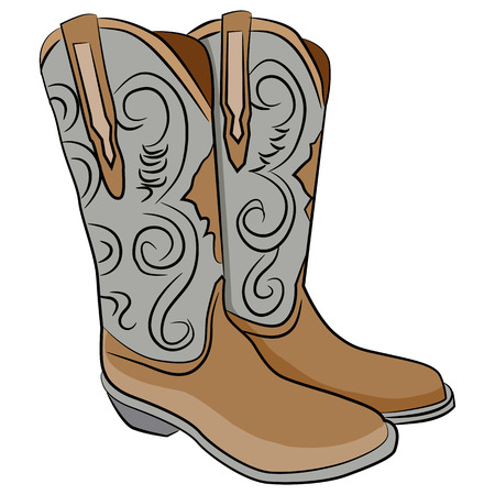 leather boots: An image of a pair of cowboy boots.