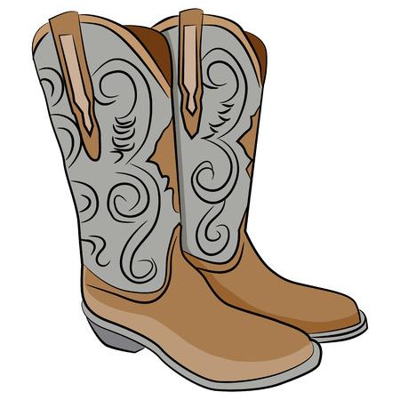 botas vaqueras: Una imagen de un par de botas de vaquero. Vectores